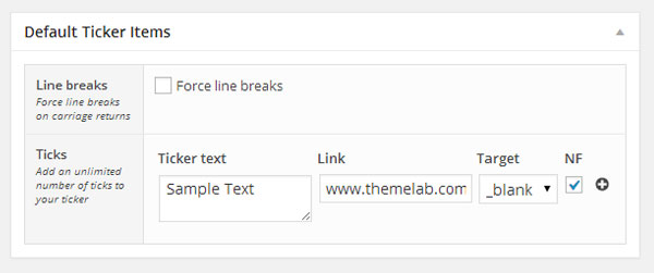 Add a Ticker Default Items