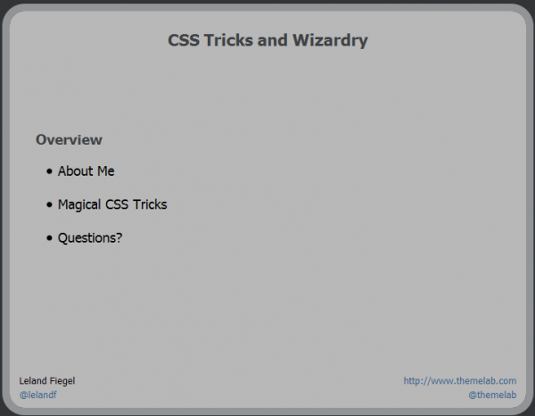 WordPress DC Presentation – CSS Tricks and Wizardry