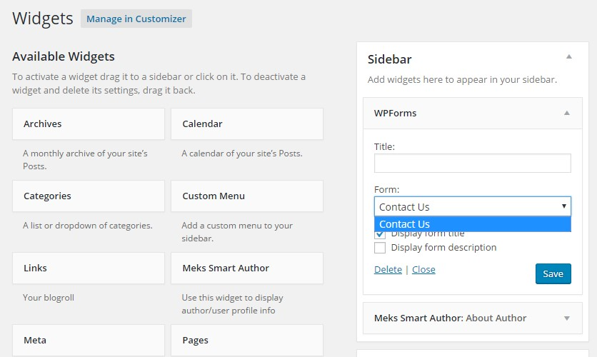 adding contact form as widget