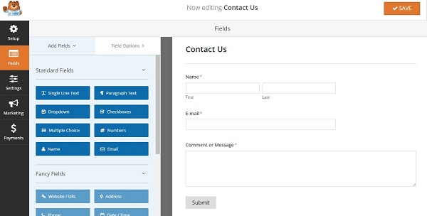 editing contact form template