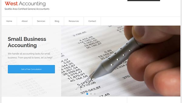 Featured slider in Accountancy WordPress theme for accountants