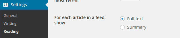 Disabling full posts in RSS feeds