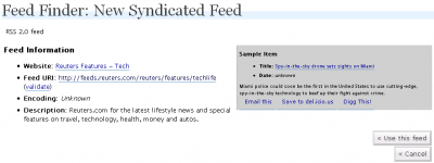 Feed Finder: New Syndicated Feed