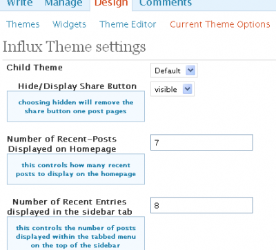 Influx Theme Options