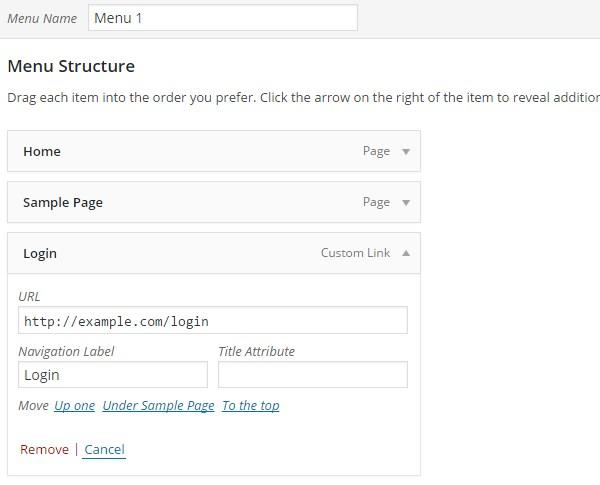 custom login on menu