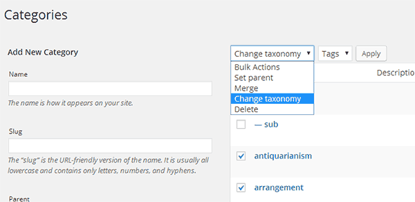 Merge unwanted categories and tags to avoid duplicate content issue