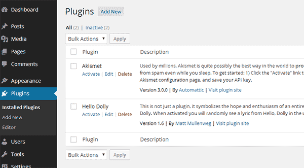 WordPress Plugins Screen