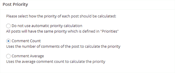 Calculating post priority in XML Sitemap