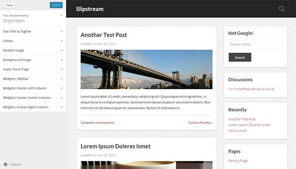 WordPress theme customizer with live preview