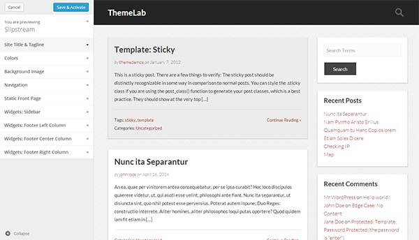 Previewing your theme live in WordPress