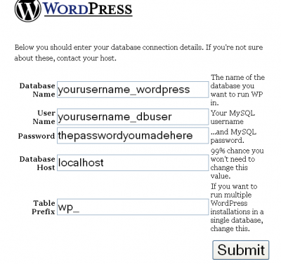 WordPress Database Configuration