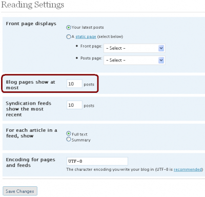 WordPress Reading Options