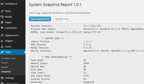 Getting web server system snapshot in WordPress