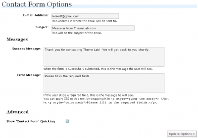 WP-ContactForm Configuration Screen