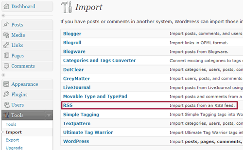 WordPress RSS Import